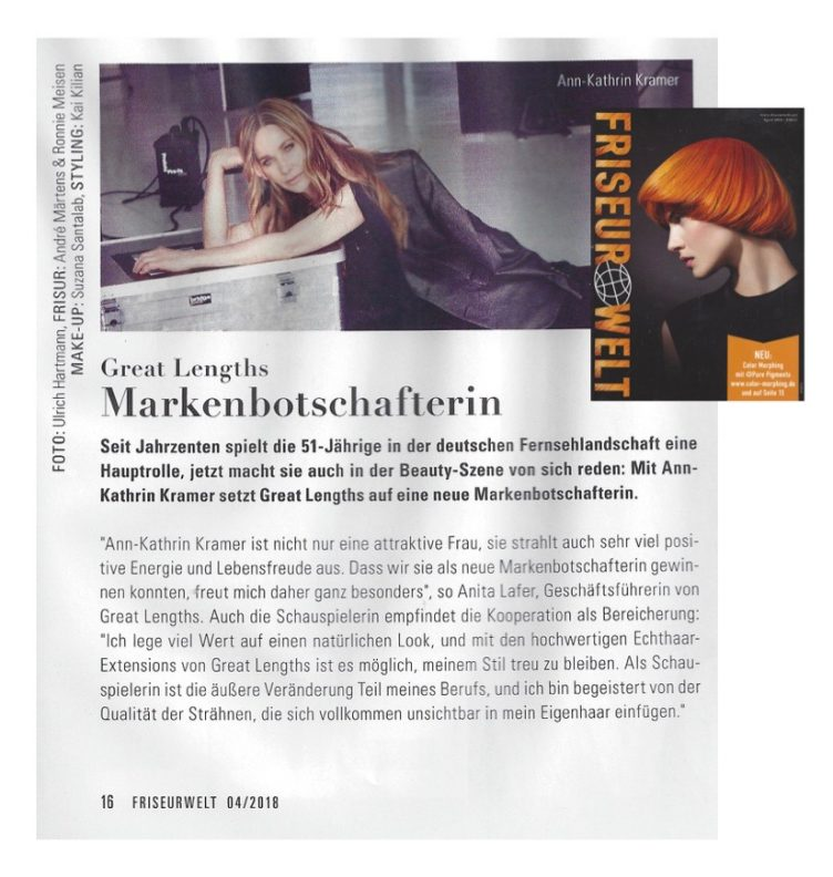 Friseurwelt<br> Great Lengths Markenbotschafterin Ann-Kathrin Kramer